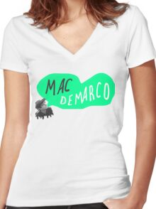 MAC DEMARCO. Women's Fitted V-Neck T-Shirt