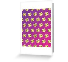Crown Emoji Pattern Pink and Purple Greeting Card