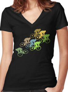 Bike Cycling Bicycle  Women's Fitted V-Neck T-Shirt
