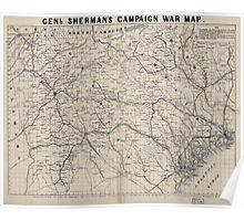 Civil War Maps 0432 Genl Sherman's campaign war map Poster