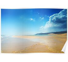 Paradise sandy beach and blue sky Poster