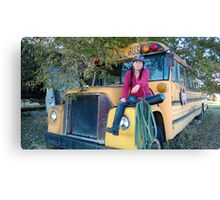 Ginny on Old School Bus Canvas Print