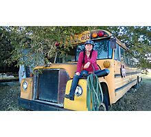 Ginny on Old School Bus Photographic Print