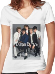 Vintage Duran Duran Women's Fitted V-Neck T-Shirt
