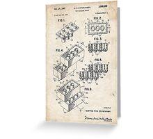 Lego Toy Blocks US Patent Art Greeting Card