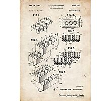 Lego Toy Blocks US Patent Art Photographic Print