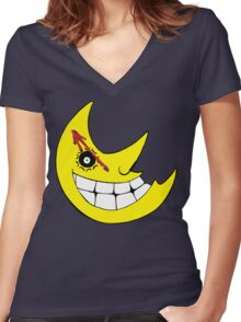 Moon from Soul eater and watchmen logo mashup Women's Fitted V-Neck T-Shirt