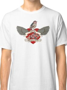 Old-school style tattoo heart with flowers and bird Classic T-Shirt