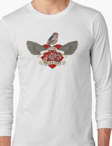 Old-school style tattoo heart with flowers and bird Long Sleeve T-Shirt