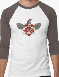 Old-school style tattoo heart with flowers and bird Men's Baseball ¾ T-Shirt