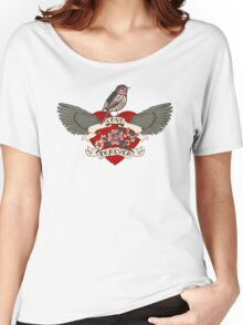 Old-school style tattoo heart with flowers and bird Women's Relaxed Fit T-Shirt