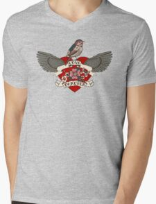 Old-school style tattoo heart with flowers and bird Mens V-Neck T-Shirt