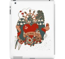 Old-school style tattoo background with swallow iPad Case/Skin