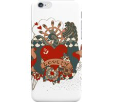Old-school style tattoo background with swallow iPhone Case/Skin