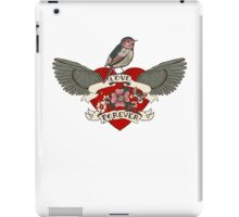 Old-school style tattoo heart with flowers and bird iPad Case/Skin