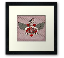 Old-school style tattoo heart with flowers and bird Framed Print