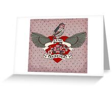 Old-school style tattoo heart with flowers and bird Greeting Card