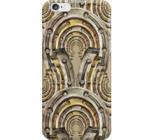 Abstract watercolor industrial seamless pattern. Steampunk style. Golden and silver metal arches iPhone Case/Skin
