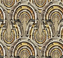 Abstract watercolor industrial seamless pattern. Steampunk style. Golden and silver metal arches by Glazkova