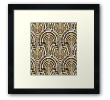 Abstract watercolor industrial seamless pattern. Steampunk style. Golden and silver metal arches Framed Print