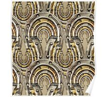 Abstract watercolor industrial seamless pattern. Steampunk style. Golden and silver metal arches Poster