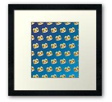 Crown Emoji Pattern Blue Framed Print
