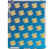 Crown Emoji Pattern Blue iPad Case/Skin