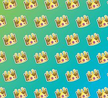 Crown Emoji Pattern Blue and Green by Lucy Lier