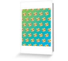 Crown Emoji Pattern Blue and Green Greeting Card