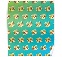 Crown Emoji Pattern Blue and Green Poster
