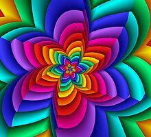 Geometric Rainbow Flower  by Kitty Bitty