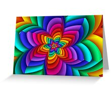 Geometric Rainbow Flower  Greeting Card