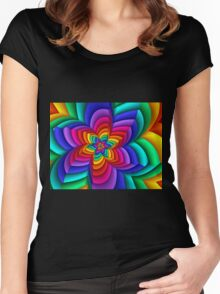 Geometric Rainbow Flower  Women's Fitted Scoop T-Shirt