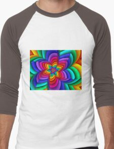 Geometric Rainbow Flower  Men's Baseball ¾ T-Shirt