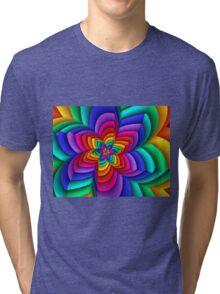 Geometric Rainbow Flower  Tri-blend T-Shirt