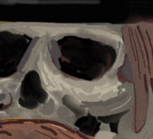 ugly skull in a hat Sticker