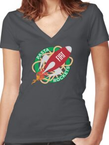 Pasta Rockets Women's Fitted V-Neck T-Shirt