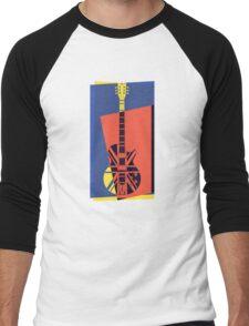 Pop Art British Flag Guitar Men's Baseball ¾ T-Shirt