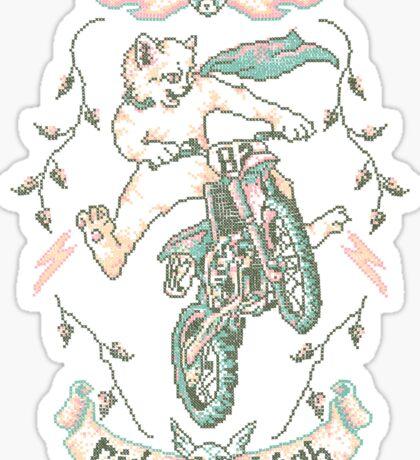 Motocross-Stitch Kitteh Sticker