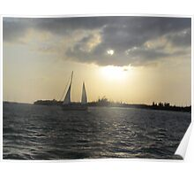 Key west sky and boat Poster