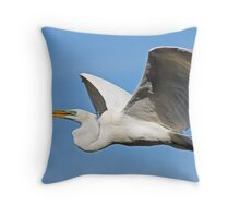 Great Egret Carries Stick Throw Pillow