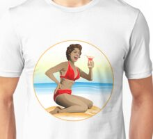 Summer pin-up with cocktail Unisex T-Shirt