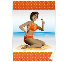 Summer pin-up with ice-cream Poster