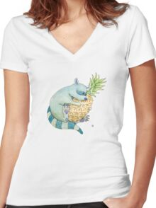 Raccoon & Pineapple Women's Fitted V-Neck T-Shirt