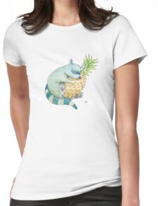 Raccoon & Pineapple Womens Fitted T-Shirt