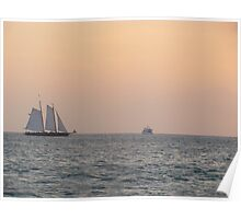 Key west Boat and Sunset Poster