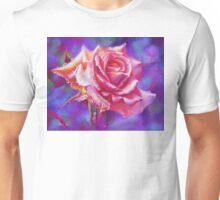 Orange rose on purple Unisex T-Shirt