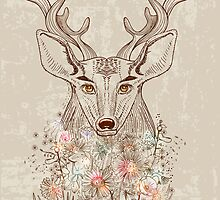 Deer and flowers by Elmiko