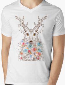 Deer and flowers Mens V-Neck T-Shirt
