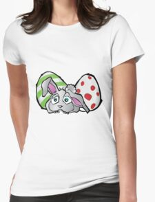 Spring Bunny with Easter Eggs Womens Fitted T-Shirt